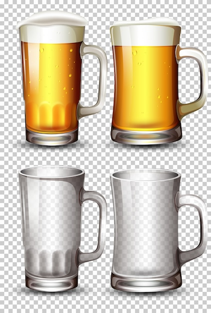Set of beer glass Free Vector