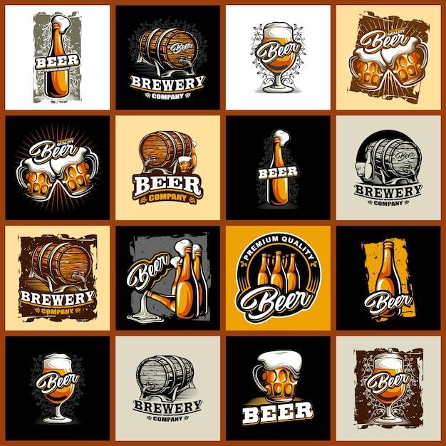 Set of beer logo Premium Vector