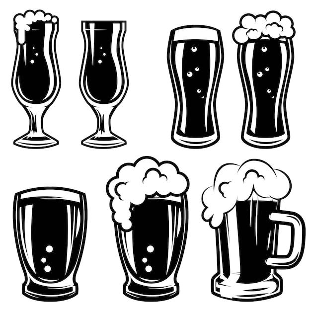 Set of beer mugs.  elements for logo, label, emblem, sign, badge.  illustration Premium Vector