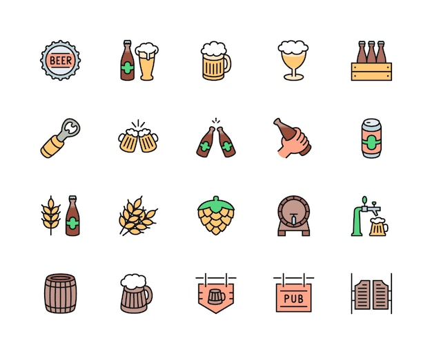 Set of beer and pub color line icons. bottle cap, mug, opener, barrel and more. Premium Vector