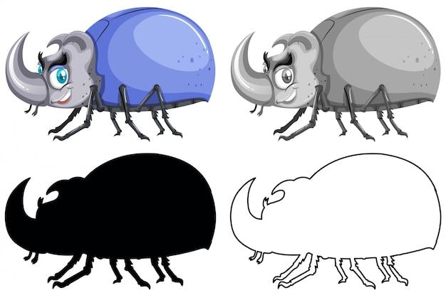 Set of beetle bug Free Vector