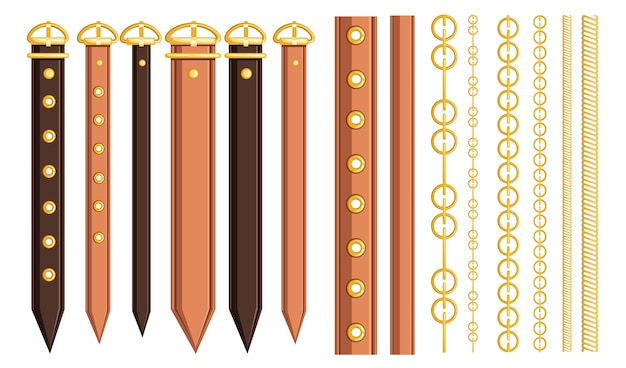 Set of belt leather and metal elements chain and braided design Premium Vector