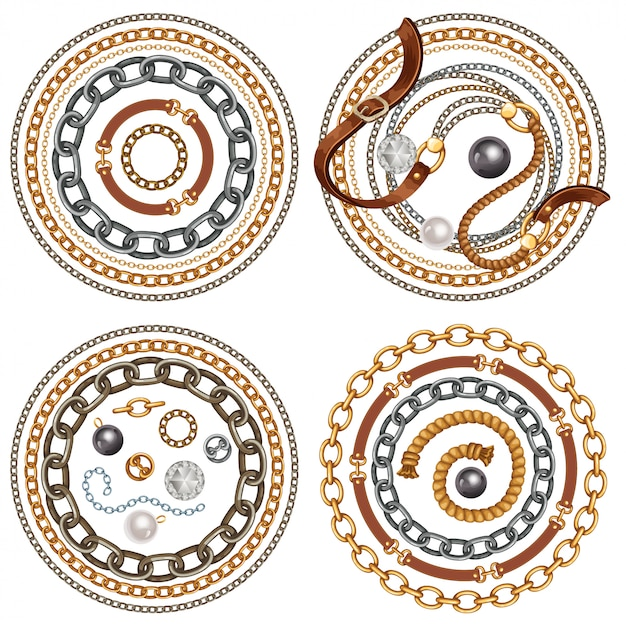 Set of belts and gold and silver chains Premium Vector