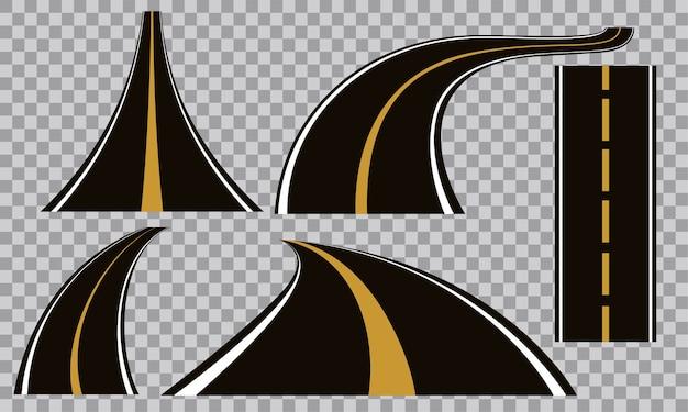 Set of bending roads and highways vector illustrations Premium Vector