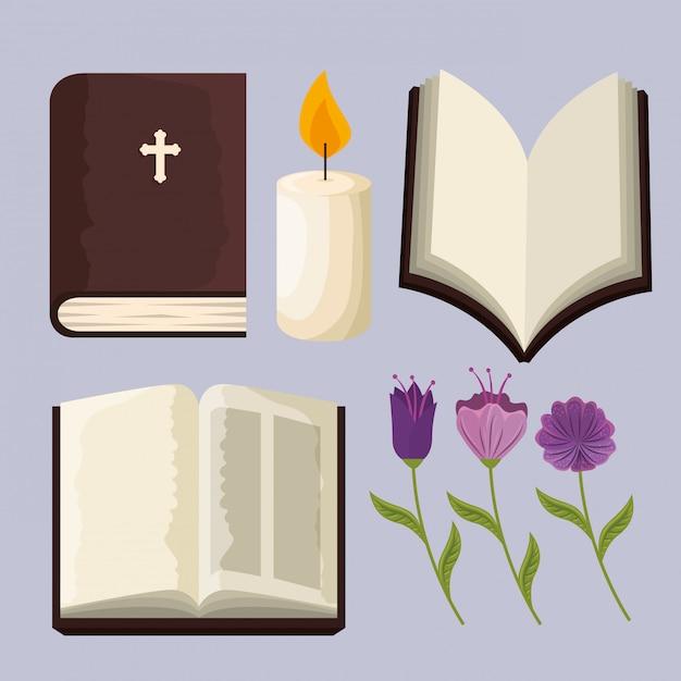 イベントにキャンドルと花の植物と聖書を設定します 無料ベクター