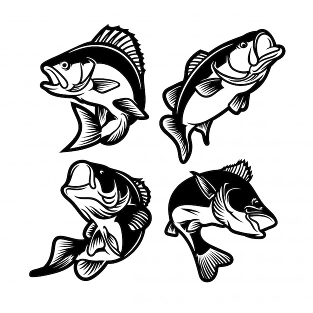 Set of big bass black and white. fishing logo Premium Vector