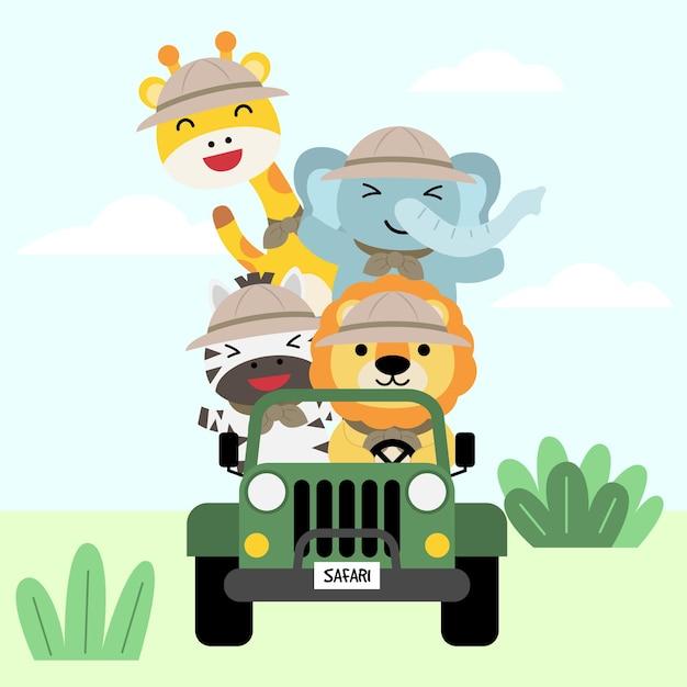 Un insieme di grande illustrazione di viaggio di avventura animale isolato, stile disegnato a mano, escursionismo e concetto di campeggio con elementi di viaggio. Vettore gratuito