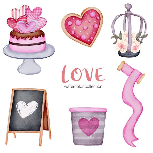 Set di cuori rossi-rosa romantici belli dell'elemento di concetto di san valentino dell'acquerello grande isolato per la decorazione, illustrazione Vettore gratuito