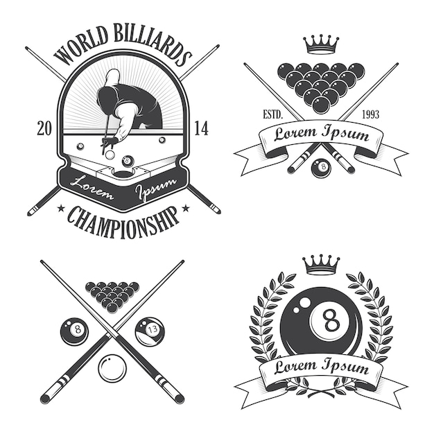 Set of billiards emblems labels and designed elements Free Vector