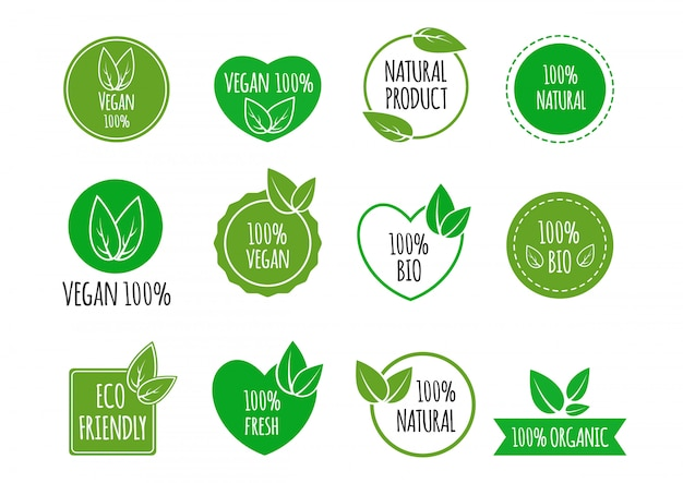 Set of bio healthy food labels Premium Vector