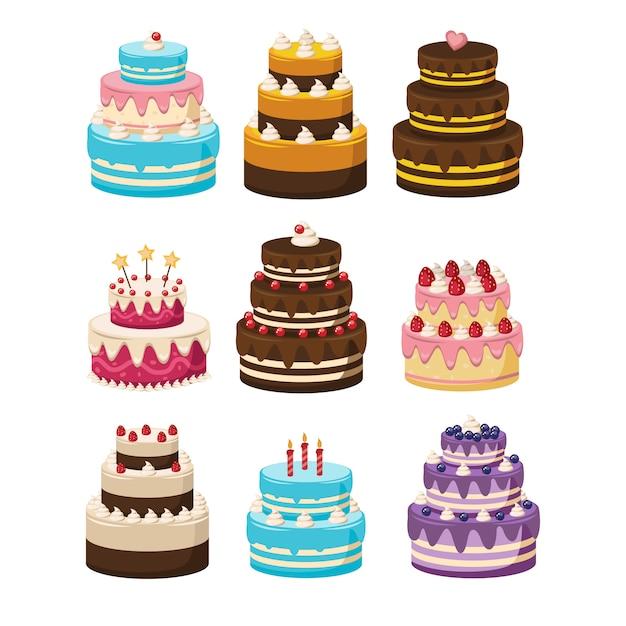 Phenomenal Set Of Birthday Cakes Cakes Collection Cartoon Illustration Of Funny Birthday Cards Online Inifofree Goldxyz