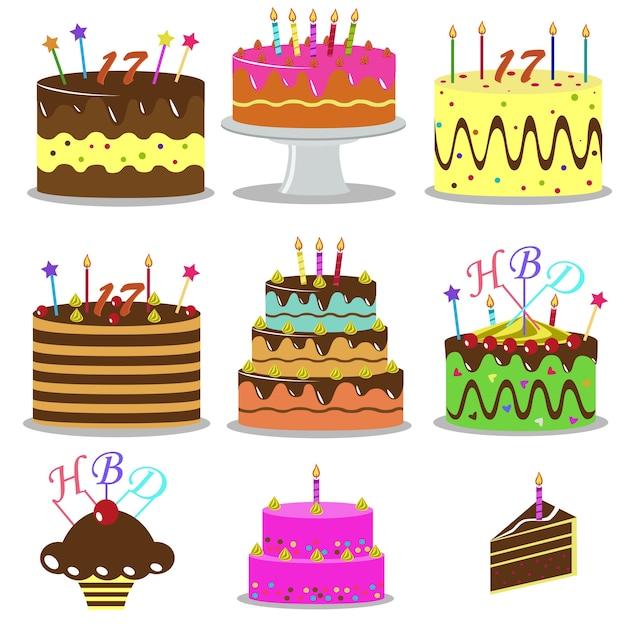 Set Of Birthday Cakes Dessert Cartoon Icons Premium Vector