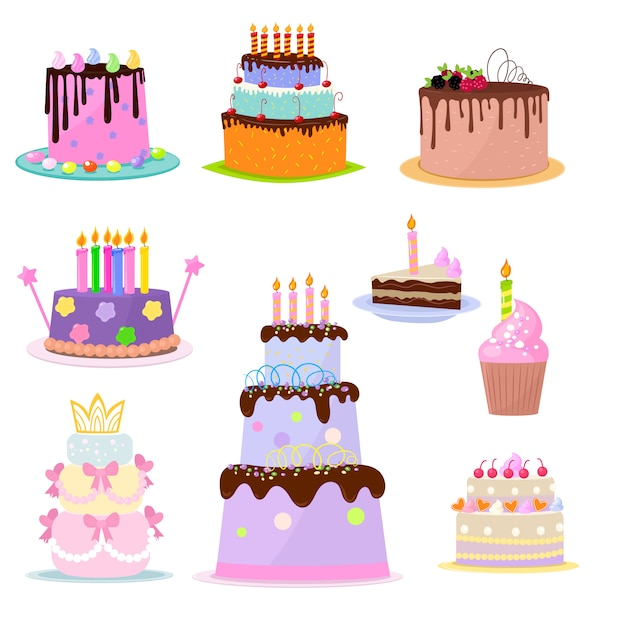 Set of birthday cakes party elements  on white background Premium Vector