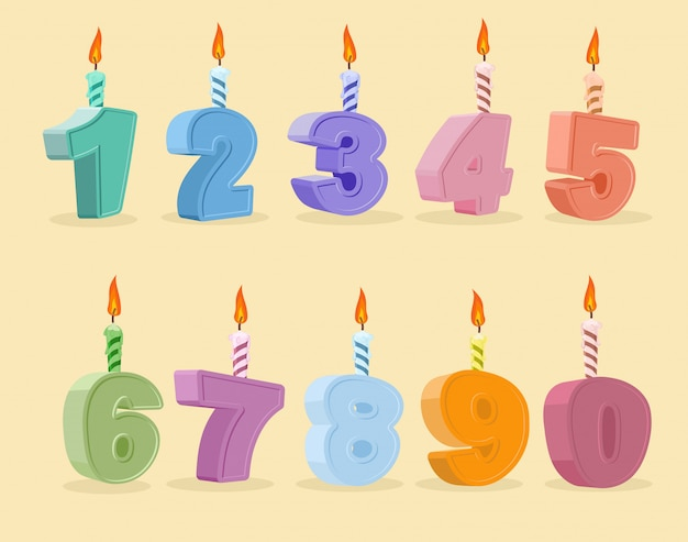 Set birthday candles cartoon numbers Premium Vector