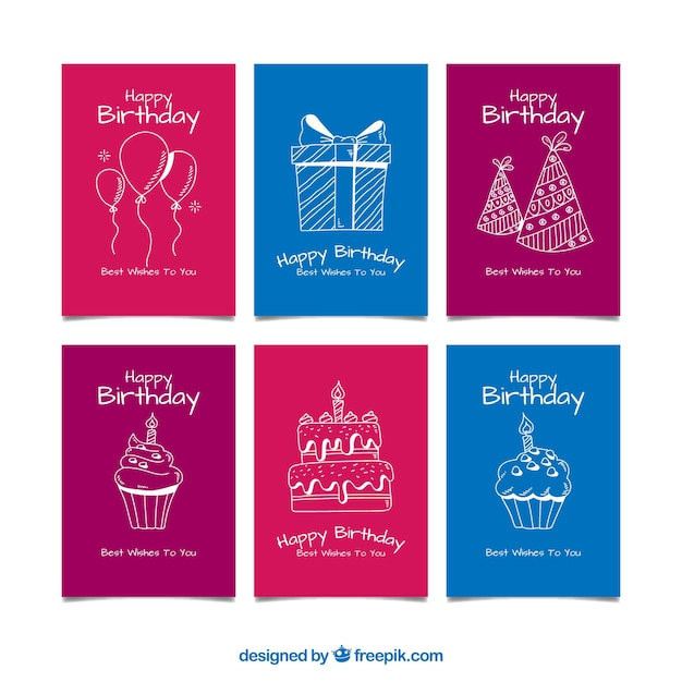 Set Of Birthday Cards In Hand Drawn Style Vector