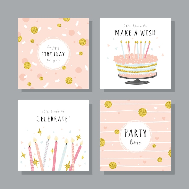 Set of birthday cards with colorful party elements Premium Vector