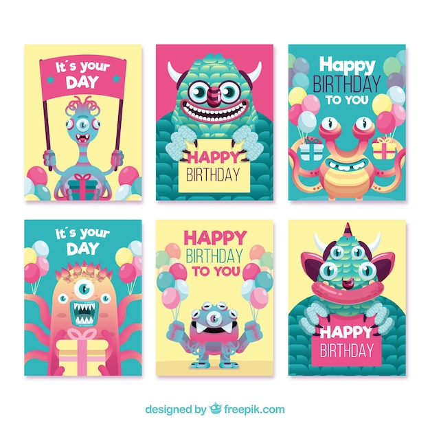 Set of birthday cards with funny monsters Free Vector