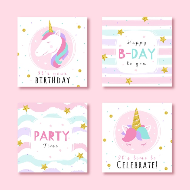 Set of birthday cards with glitter party elements Premium Vector