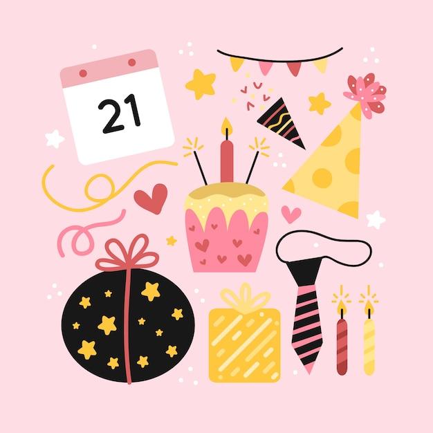 Insieme di elementi di decorazione di compleanno Vettore gratuito