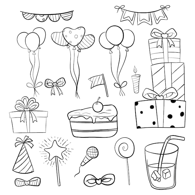Set of birthday elements or icons with hand drawn or doodle style Premium Vector