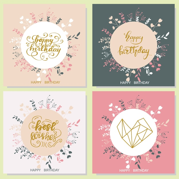Set of birthday greeting card designs. vector illustration. Premium Vector