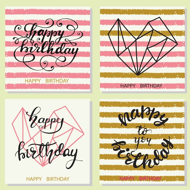 Set of birthday greeting card designs with lettering. vector illustration. Premium Vector