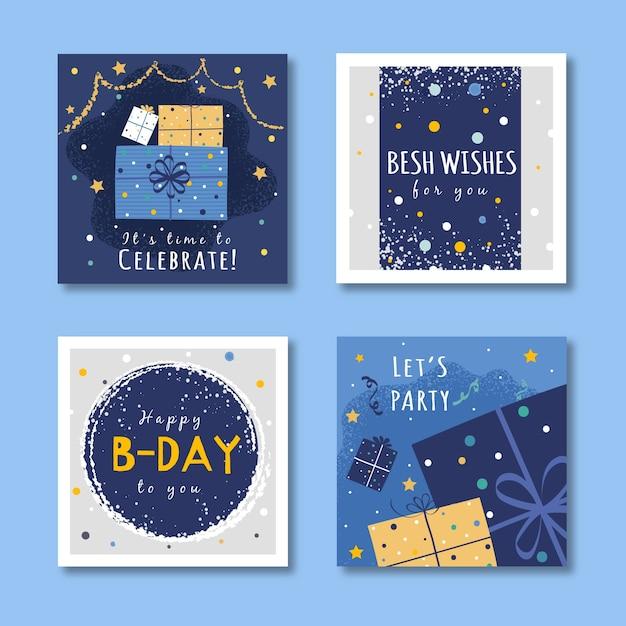 Set di biglietti di auguri di compleanno design Vettore gratuito