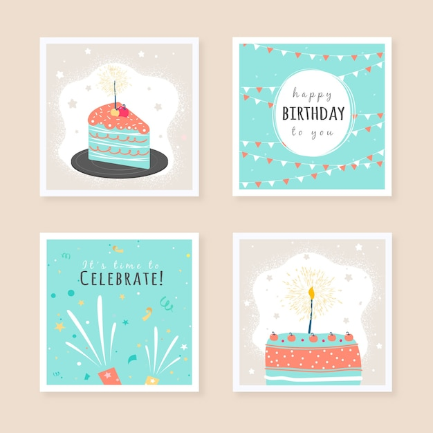 Set of birthday greeting cards design Free Vector