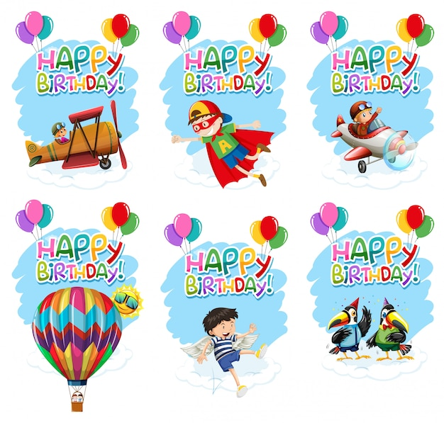 Set of birthday icon Free Vector