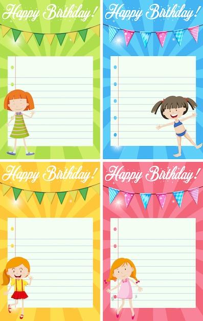 Set of birthday note Free Vector