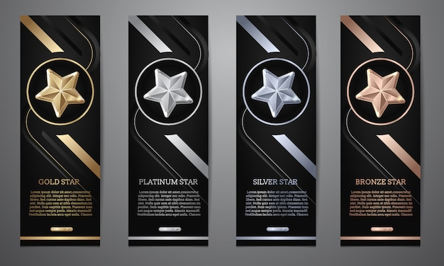 Set of black banners Premium Vector