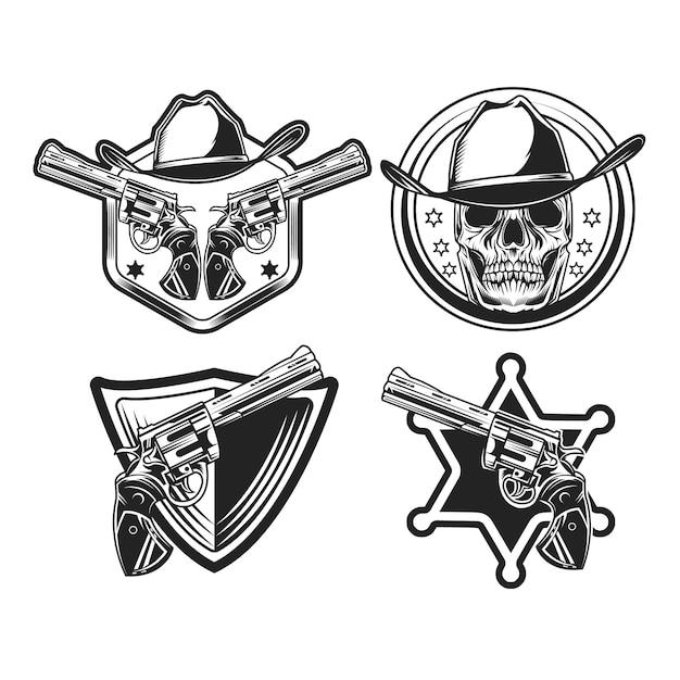 Set of black cowboy emblem in black and b&w Premium Vector