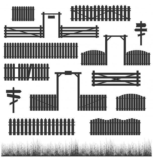 Set of black fences with gates Premium Vector