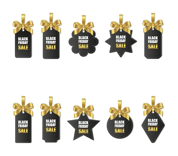 Set of black friday price tags with gold bows and ribbon Premium Vector