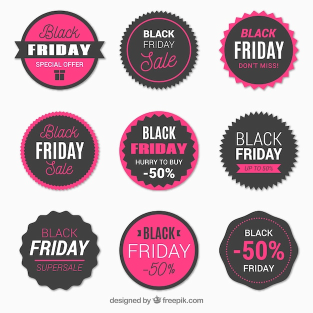 Set of black friday retro stickers Free Vector