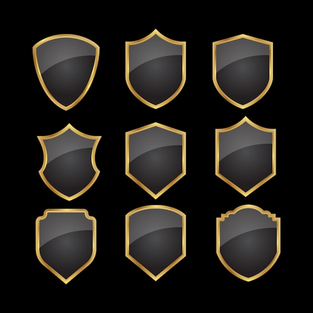 Set of black gold shield Premium Vector