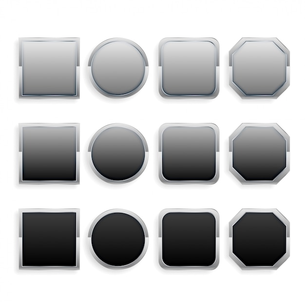 Set of black and gray metal frame buttons Free Vector