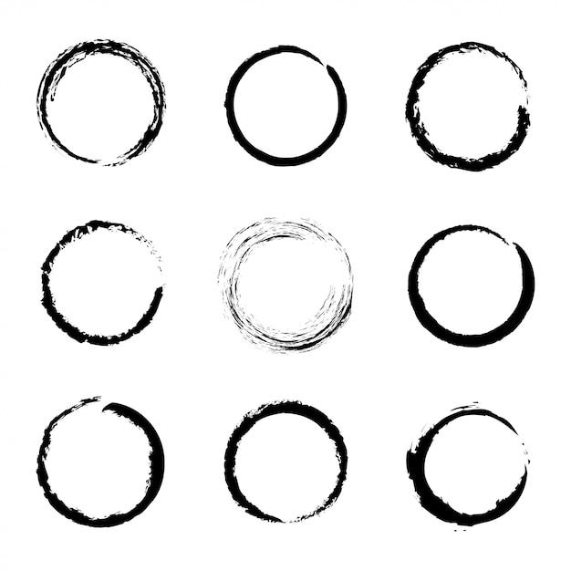 Set of black grunge circle Premium Vector