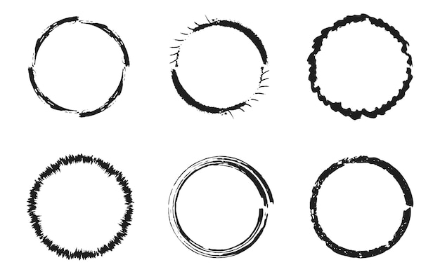 Set of black grunge circles, round frames Premium Vector