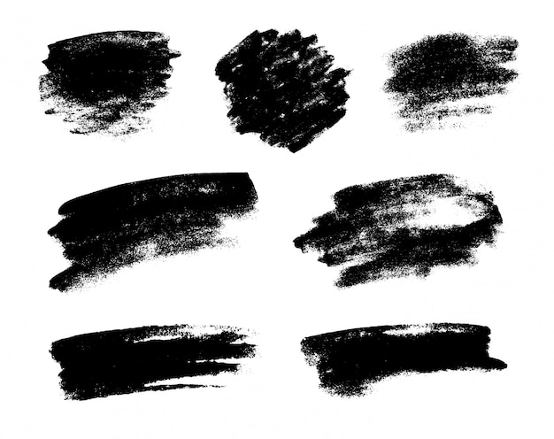 Set of black grunge vector brushes Premium Vector