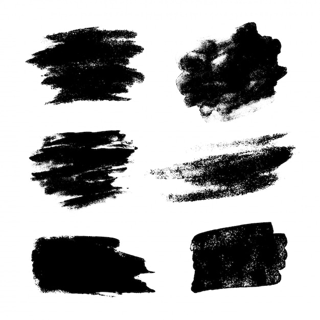 Set of black grunge vector brushes Premium Vector