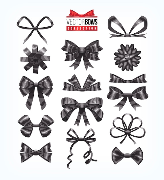 Set of black holiday bows.   illustration. Premium Vector