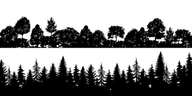 Set of black horizontal silhouettes coniferous treetops forest pine Premium Vector
