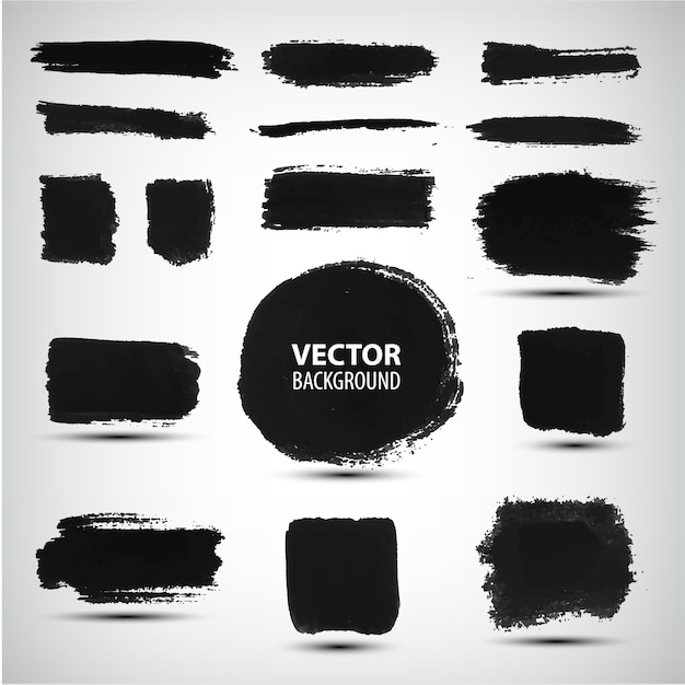 Set of black ink brush strokes Premium Vector