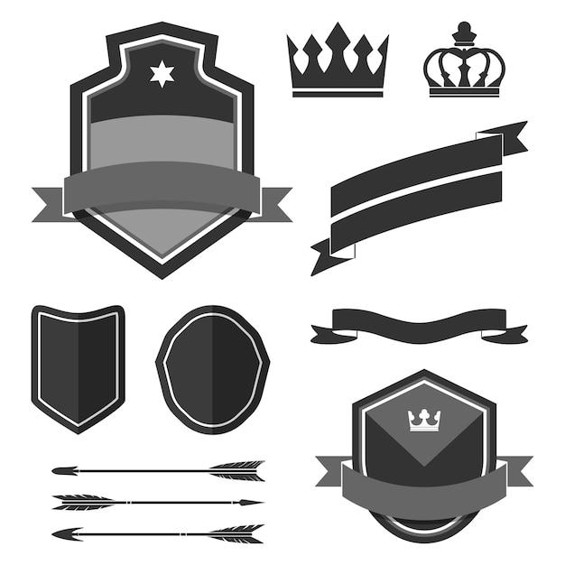 Set of black label ornament vectors Free Vector