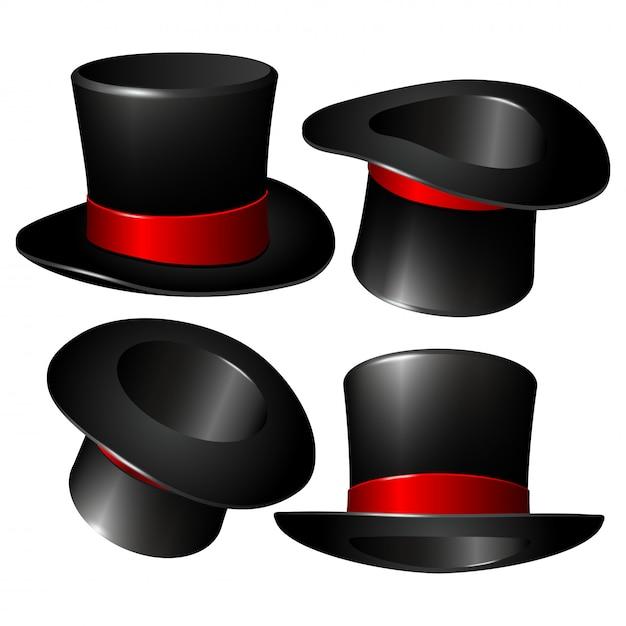 Set of black magician cylinder hats Premium Vector