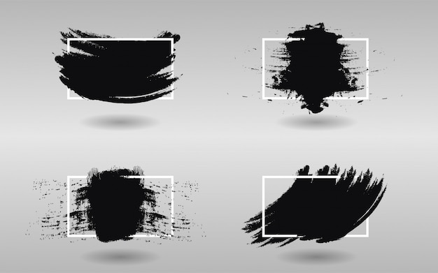 Set of black paint with square frame Premium Vector