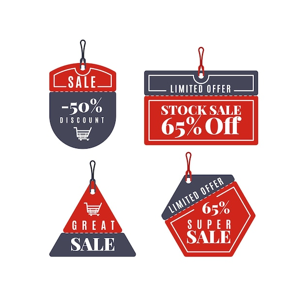 Set of black and red sale tags Free Vector