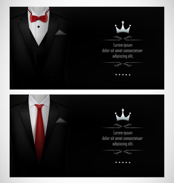 Set of black tuxedo business card templates Premium Vector