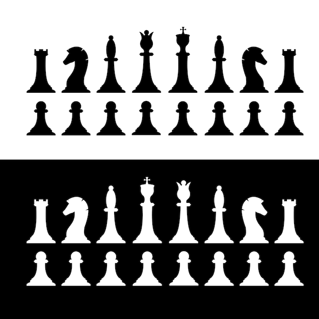 Set of black and white chess pieces Premium Vector